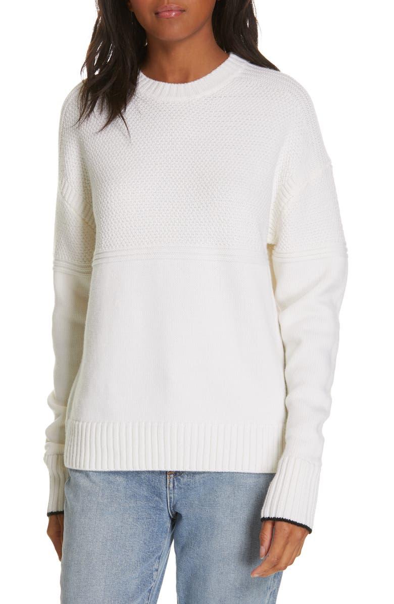 LA LIGNE Guensey Merino Wool Sweater, Main, color, CREAM / BLACK