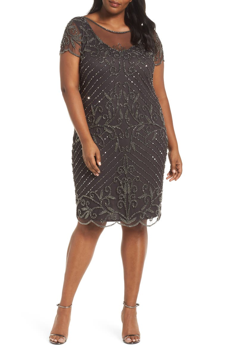 PISARRO NIGHTS Beaded Illusion Yoke Sheath Dress, Main, color, GRAY/ SILVER