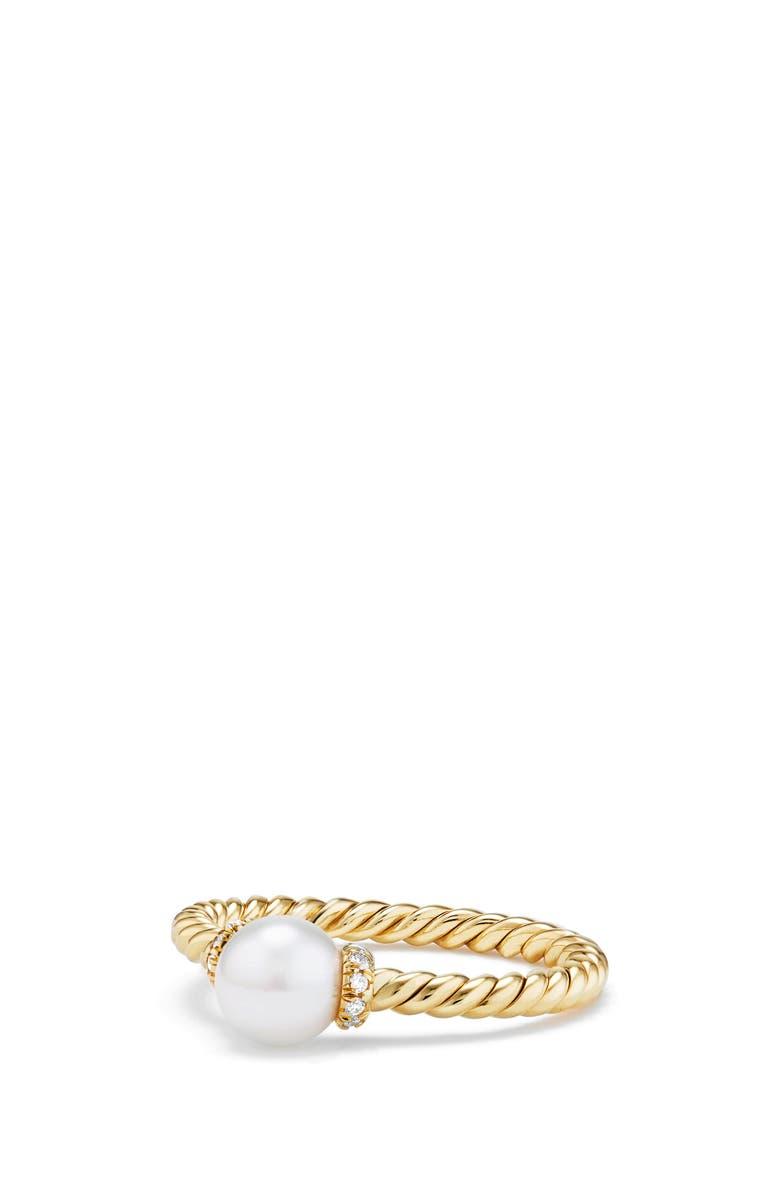 DAVID YURMAN Solari Station Ring with Pearl & Diamonds in 18K Gold, Main, color, YELLOW GOLD/ DIAMOND/ PEARL
