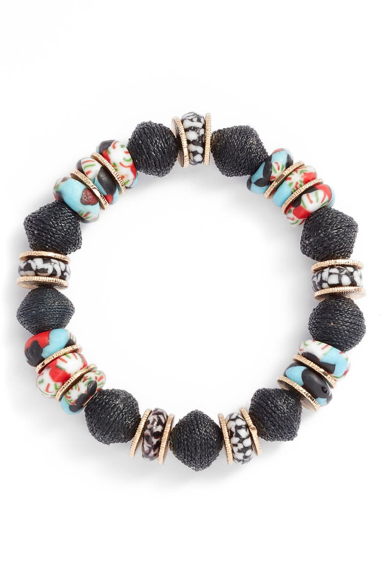 AKOLA Glass & Raffia Beaded Stretch Bracelet, Main, color, MULTI
