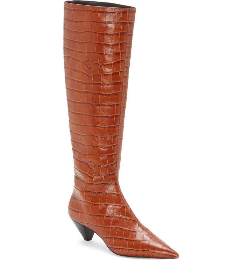 MERCEDES CASTILLO Donique Croc Embossed Knee High Boot, Main, color, 200