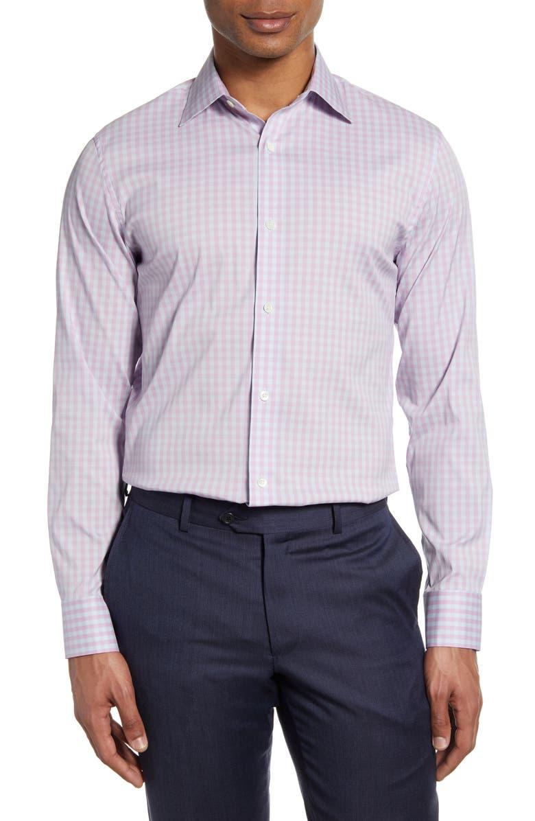 BONOBOS Slim Fit Check Dress Shirt, Main, color, TIMBER GINGHAM PINK ORCHID