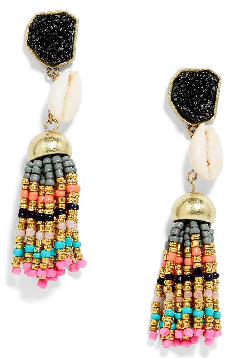 BAUBLEBAR Conch Tassel Drop Earrings, Main, color, 001