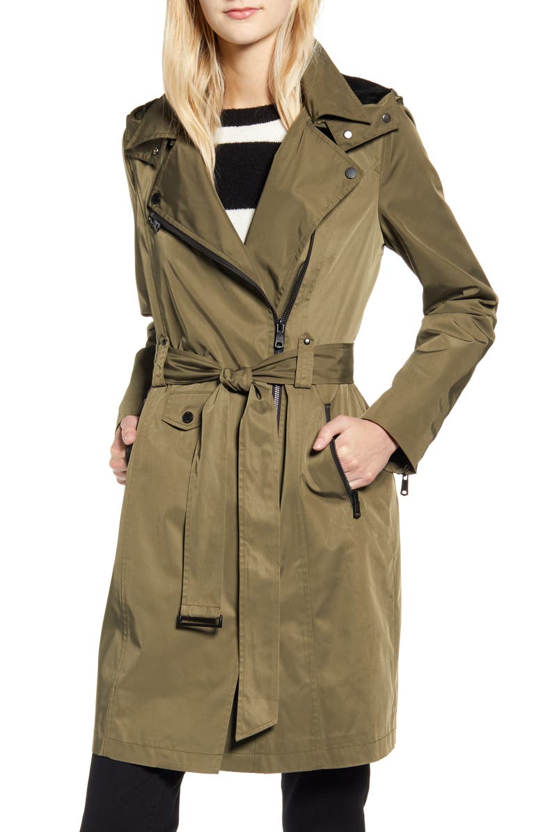 AVEC LES FILLES Water Resistant Moto Detail Trench Coat, Main, color, OLIVE