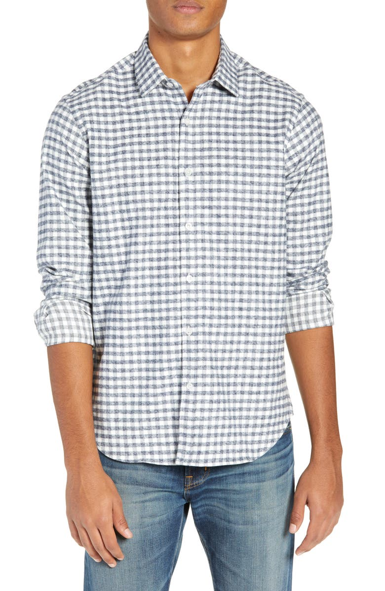 JEFF Thurmond Gingham Long Sleeve Slim Fit Shirt, Main, color, WHITE