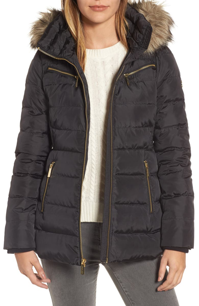 MICHAEL MICHAEL KORS Puffer Coat with Detachable Hood and Faux Fur Trim, Main, color, 001