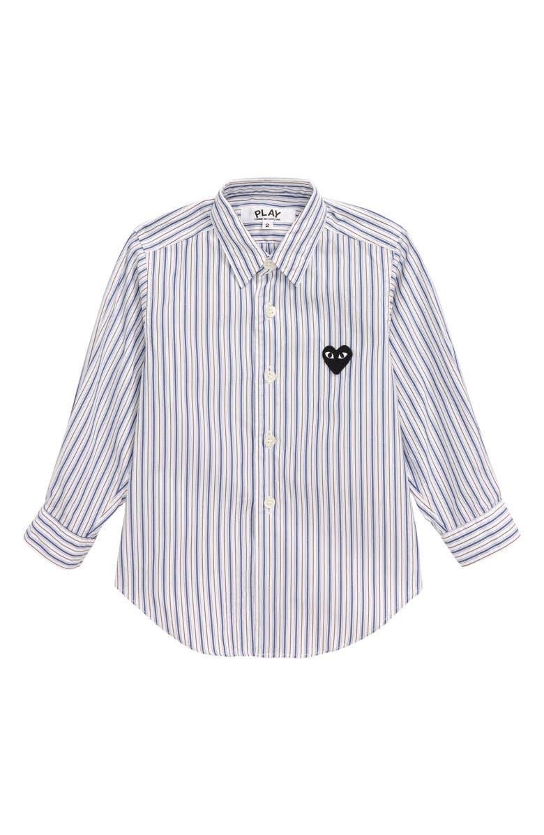 COMME DES GARÇONS PLAY Striped Woven Shirt, Main, color, BLUE