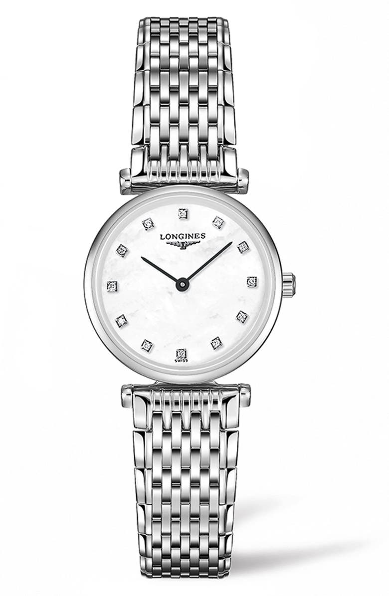 LONGINES La Grande Classique de Longines Diamond Bracelet Watch, 24mm, Main, color, SILVER/ MOP/ SILVER