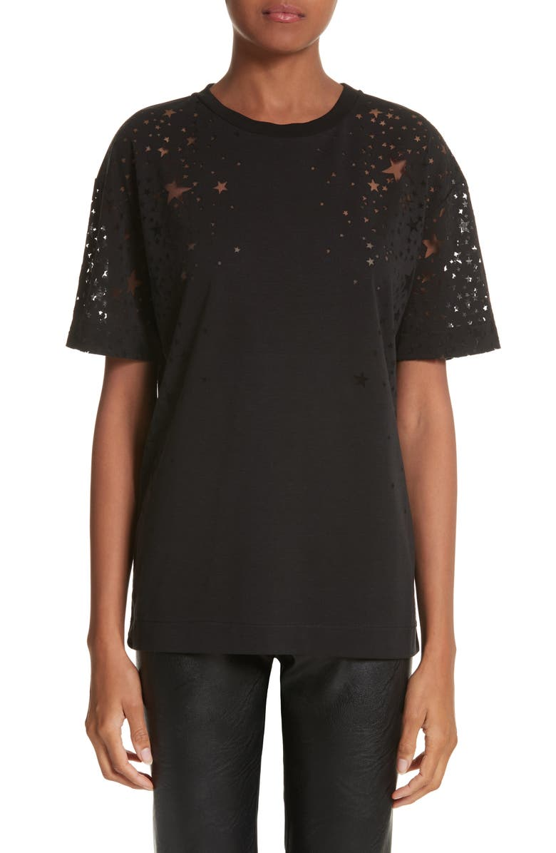 STELLA MCCARTNEY Burnout Star Tee, Main, color, BLACK