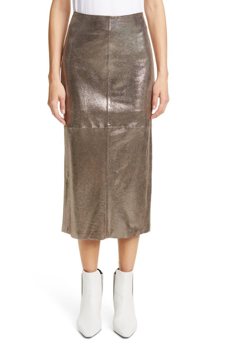 BRUNELLO CUCINELLI Sparkle Leather Midi Pencil Skirt, Main, color, SILVER