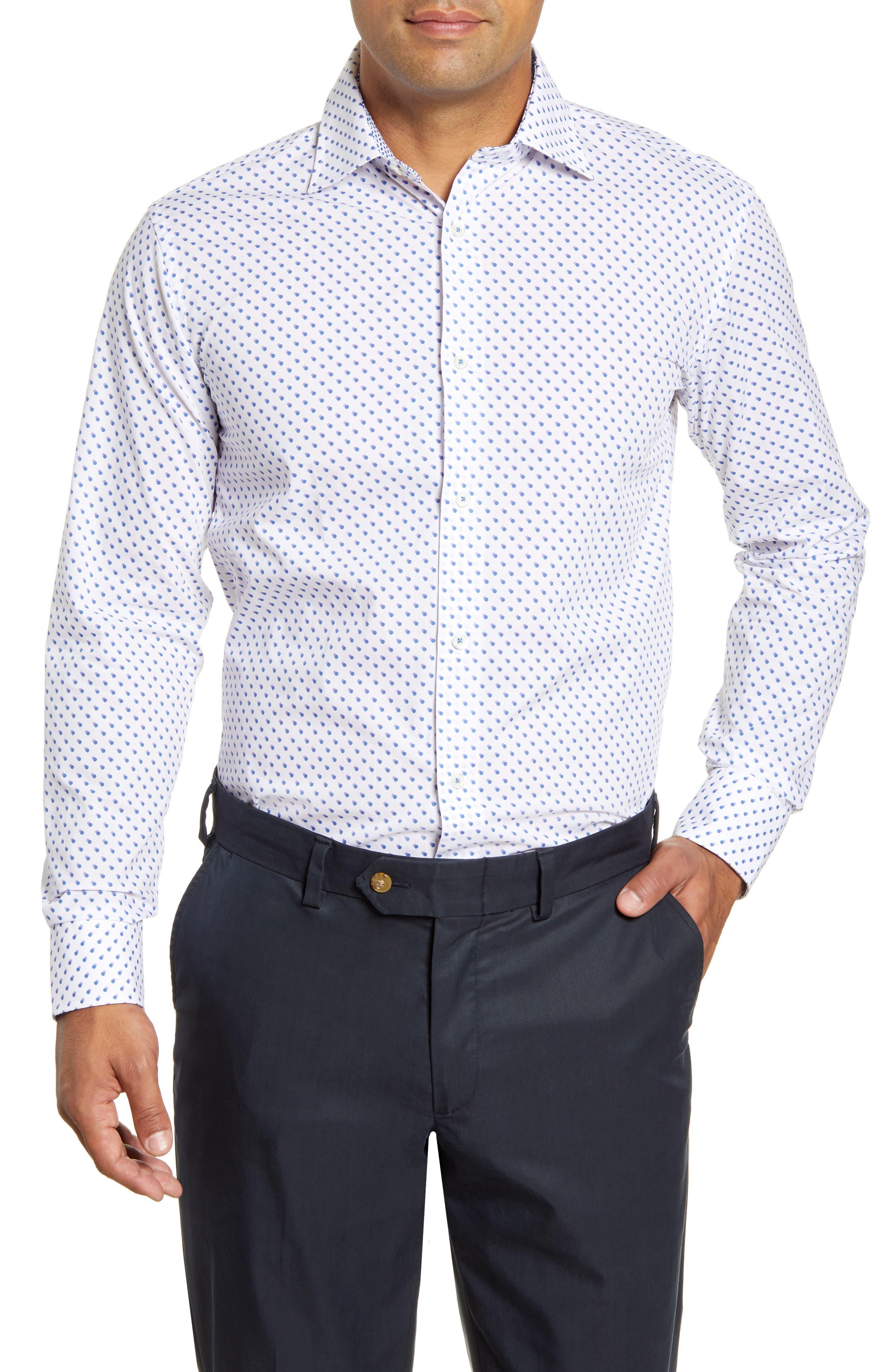 men's big & tall bugatchi trim fit shadow dot pattern dress shirt, size 18 - blue