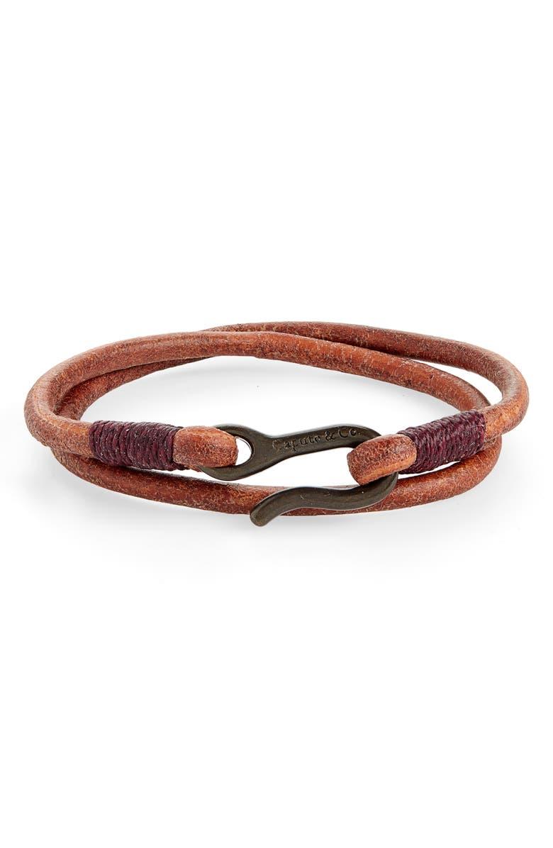 CAPUTO & CO. Leather Cord Wrap Bracelet, Main, color, 001