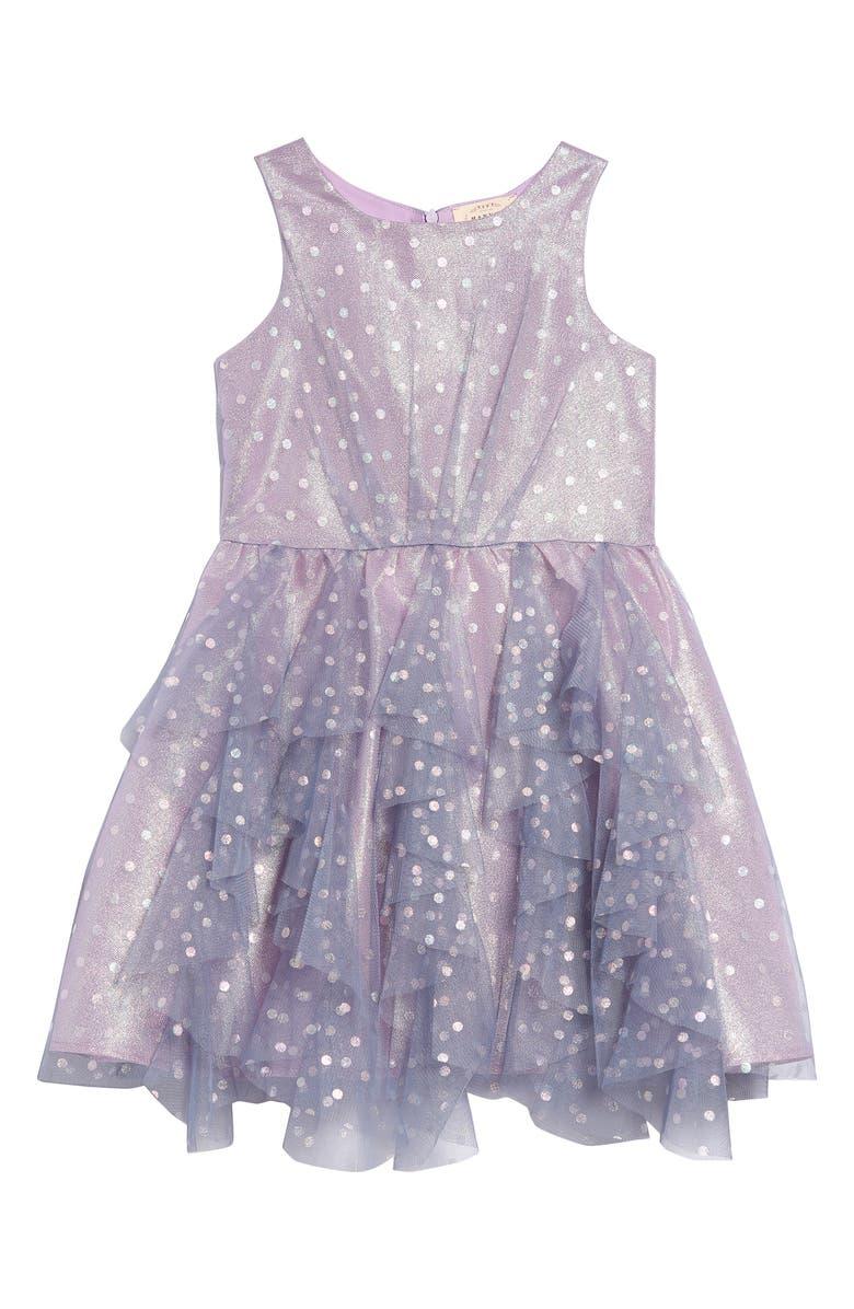 HANNAH BANANA Shimmer Dot Party Dress, Main, color, PURPLE