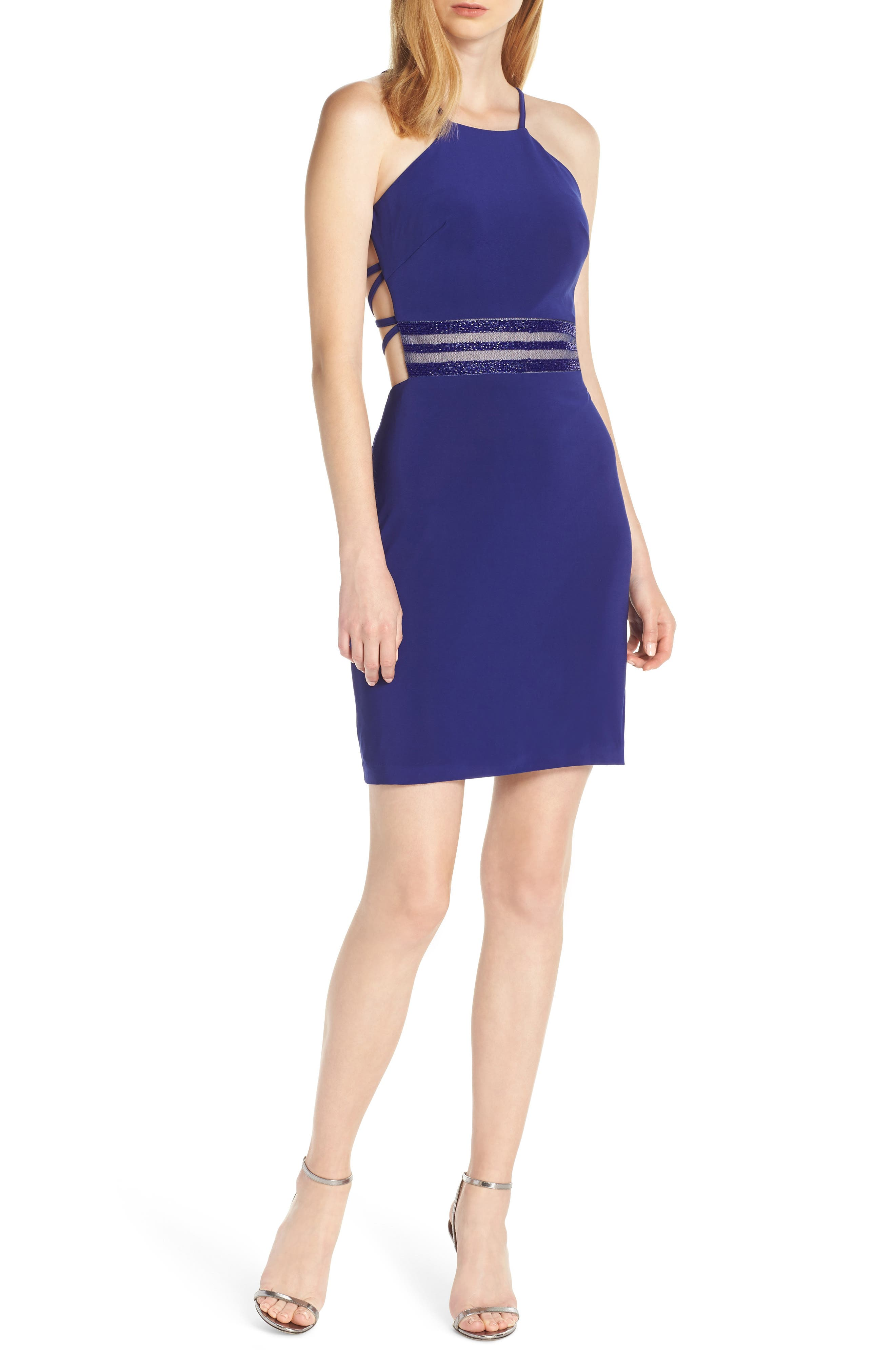 Strappy Back Cocktail Sheath, Main, color, ELECTRIC BLUE