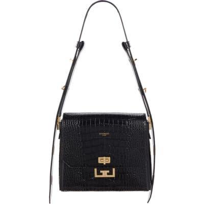 Givenchy Medium Eden Croc Embossed Leather Shoulder Bag - Black