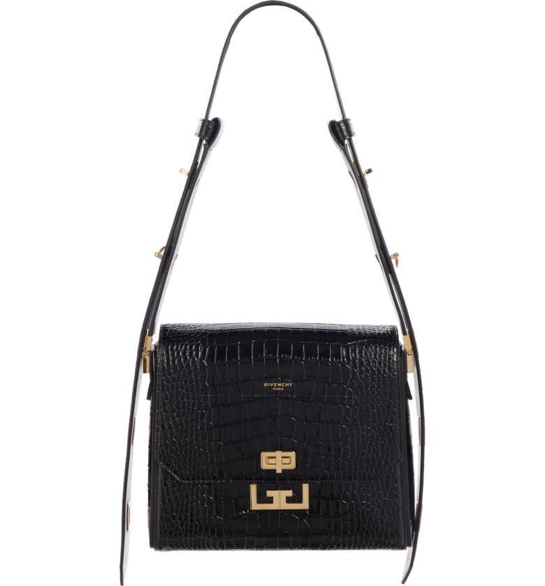 GIVENCHY Medium Eden Croc Embossed Leather Shoulder Bag, Main, color, BLACK