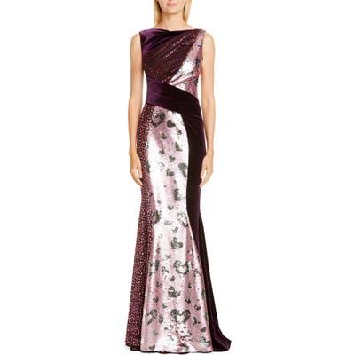 Talbot Runhof Mixed Sequin Gown, Pink