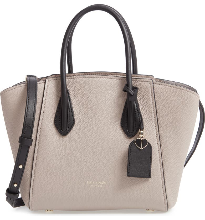 KATE SPADE NEW YORK medium grace leather satchel, Main, color, WARM TAUPE/ BLACK
