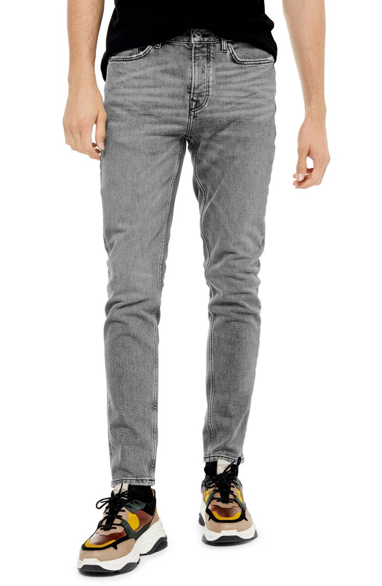 TOPMAN Authentic Stretch Skinny Jeans, Main, color, GREY