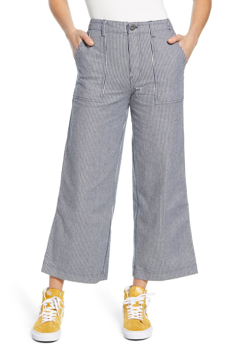 VANS Barrecks Wide Leg High Waist Stripe Crop Pants, Main, color, DRESS BLUES