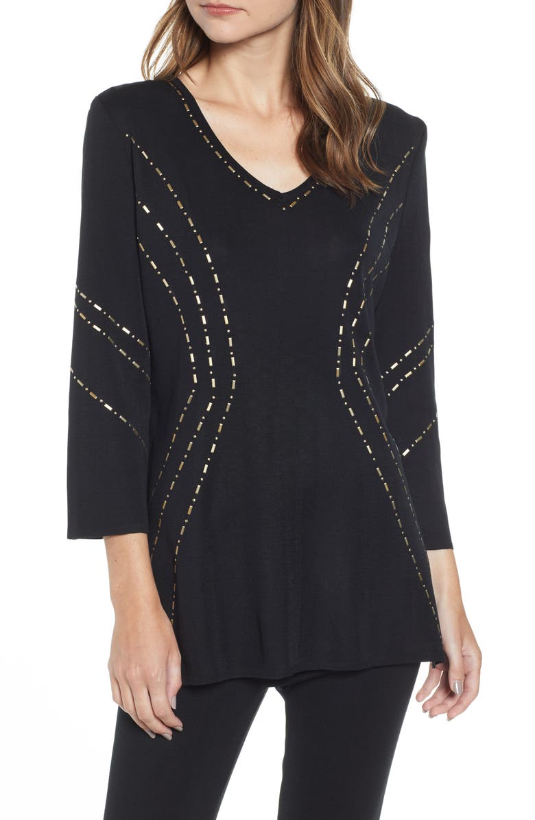 MING WANG Studded Tunic Sweater, Main, color, BLACK/ GILDED GOLD