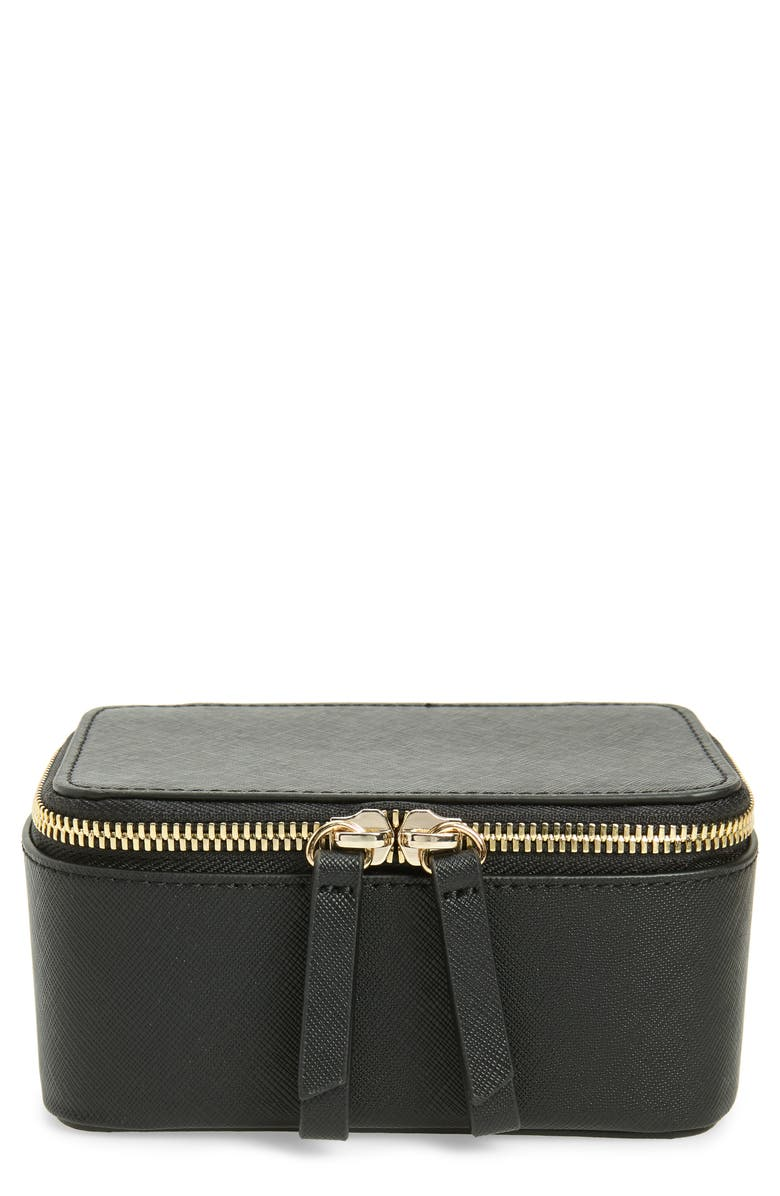TRUFFLE Privacy Mini Leather Jewelry Case, Main, color, 001