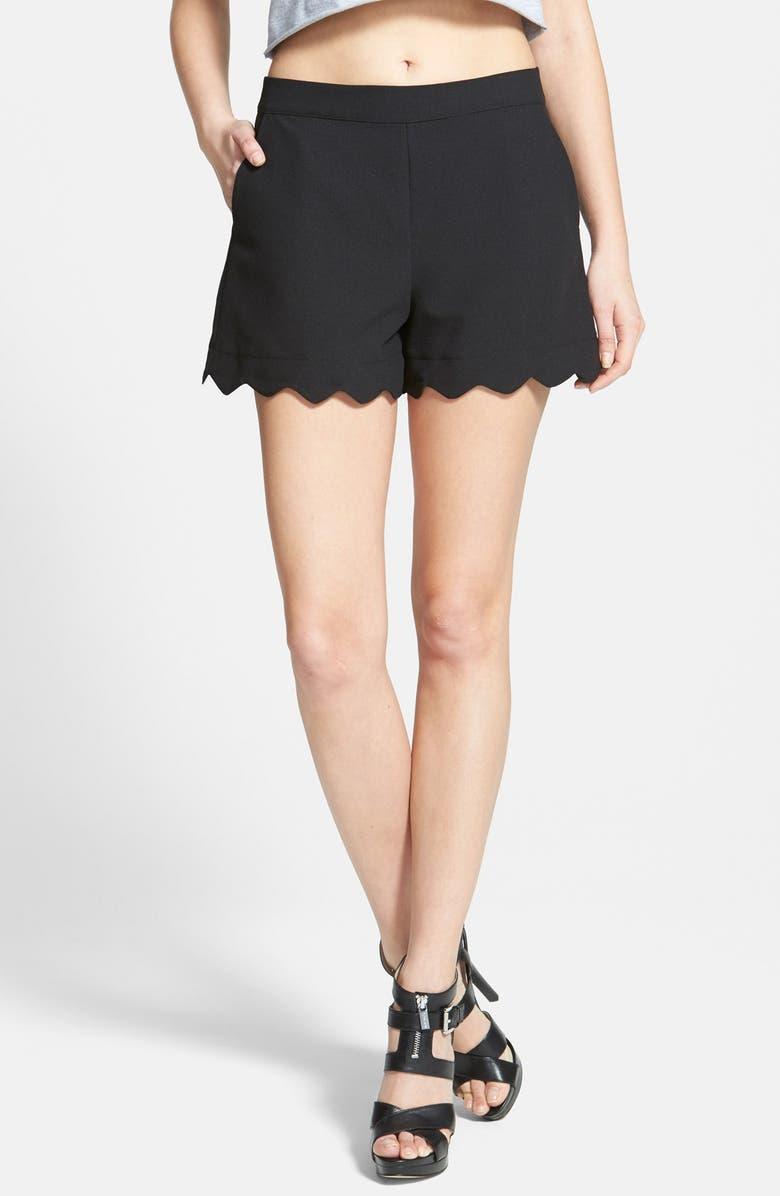JUNE & HUDSON Scallop Hem Crepe Shorts, Main, color, 001