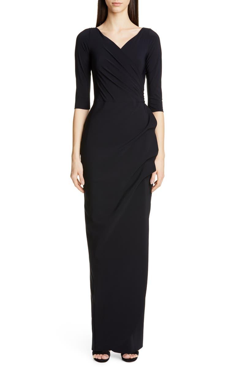 CHIARA BONI LA PETITE ROBE Florien Ruched Evening Dress, Main, color, BLACK