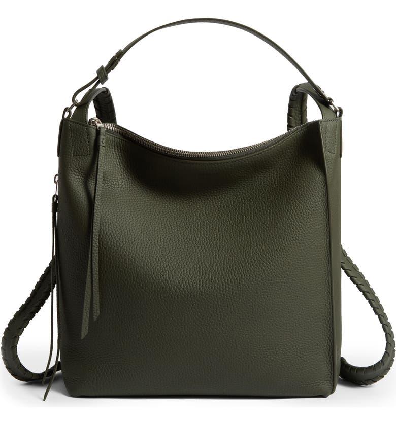 ALLSAINTS Small Kita Convertible Leather Backpack, Main, color, KHAKI GREEN