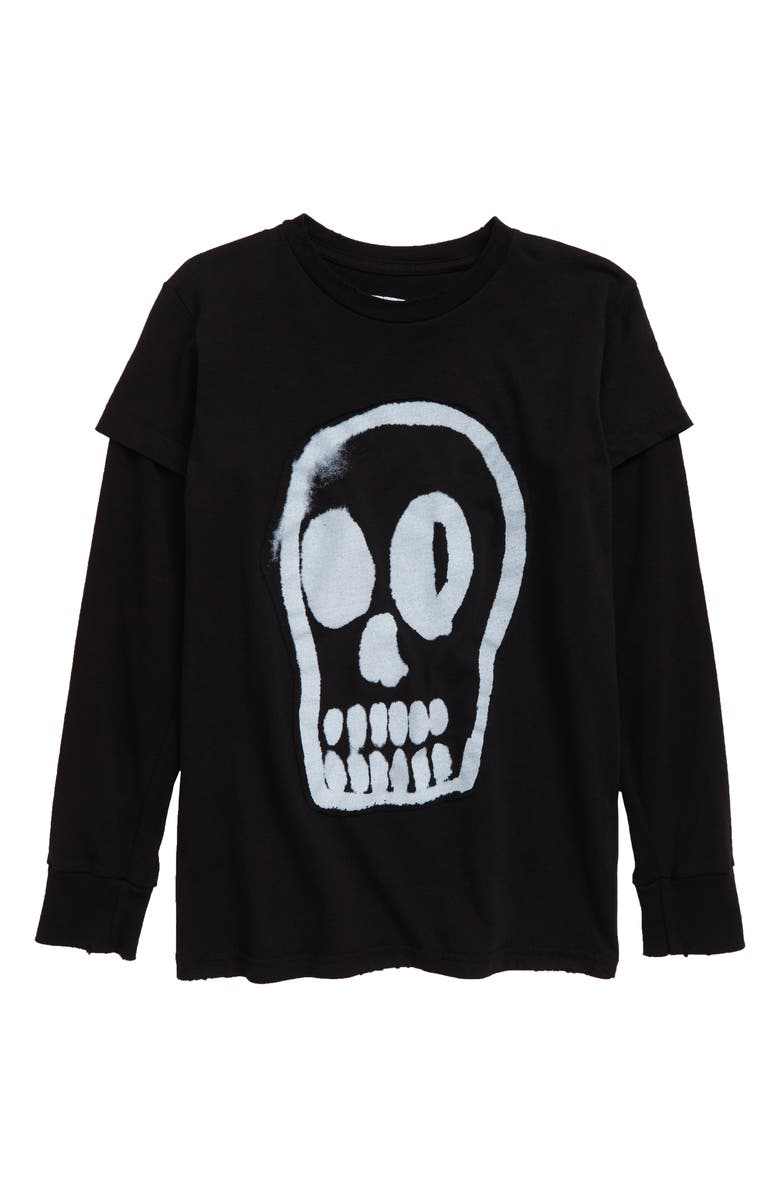 NUNUNU Dizzy Skull Graphic T-Shirt, Main, color, BLACK