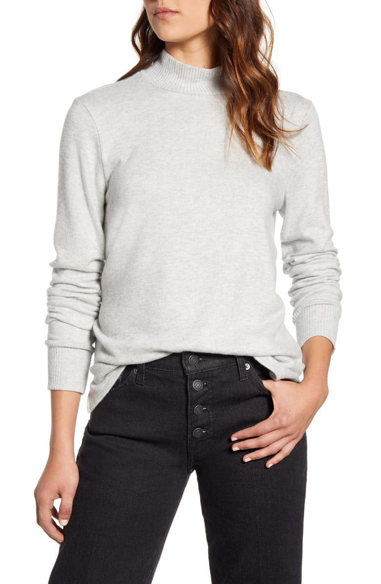 LUCKY BRAND Mock Neck Cloud Jersey Top, Main, color, HEATHER GREY
