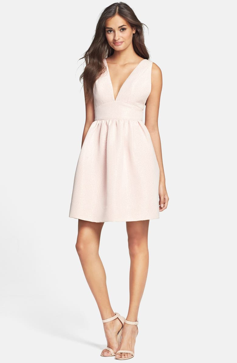 JILL JILL STUART Jacquard Fit & Flare Dress, Main, color, 650
