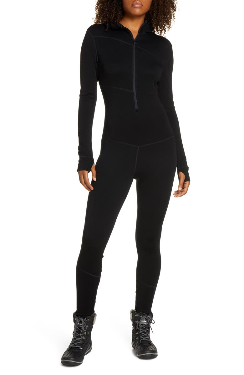 SMARTWOOL Merino 250 Hooded One-Piece Base Layer, Main, color, BLACK