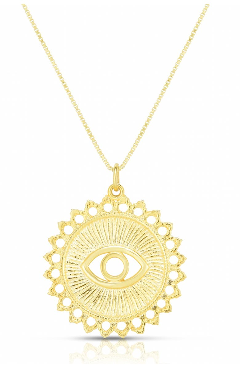 SPHERA MILANO 14K Gold Plated Sterling Silver Evil Eye Pendant Necklace, Main, color, YELLOW GOLD