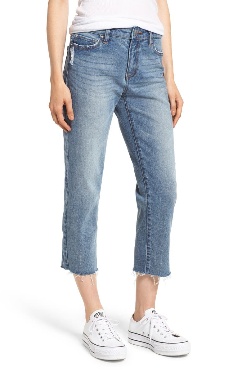 PROSPERITY DENIM Crop Straight Leg Jeans, Main, color, 468