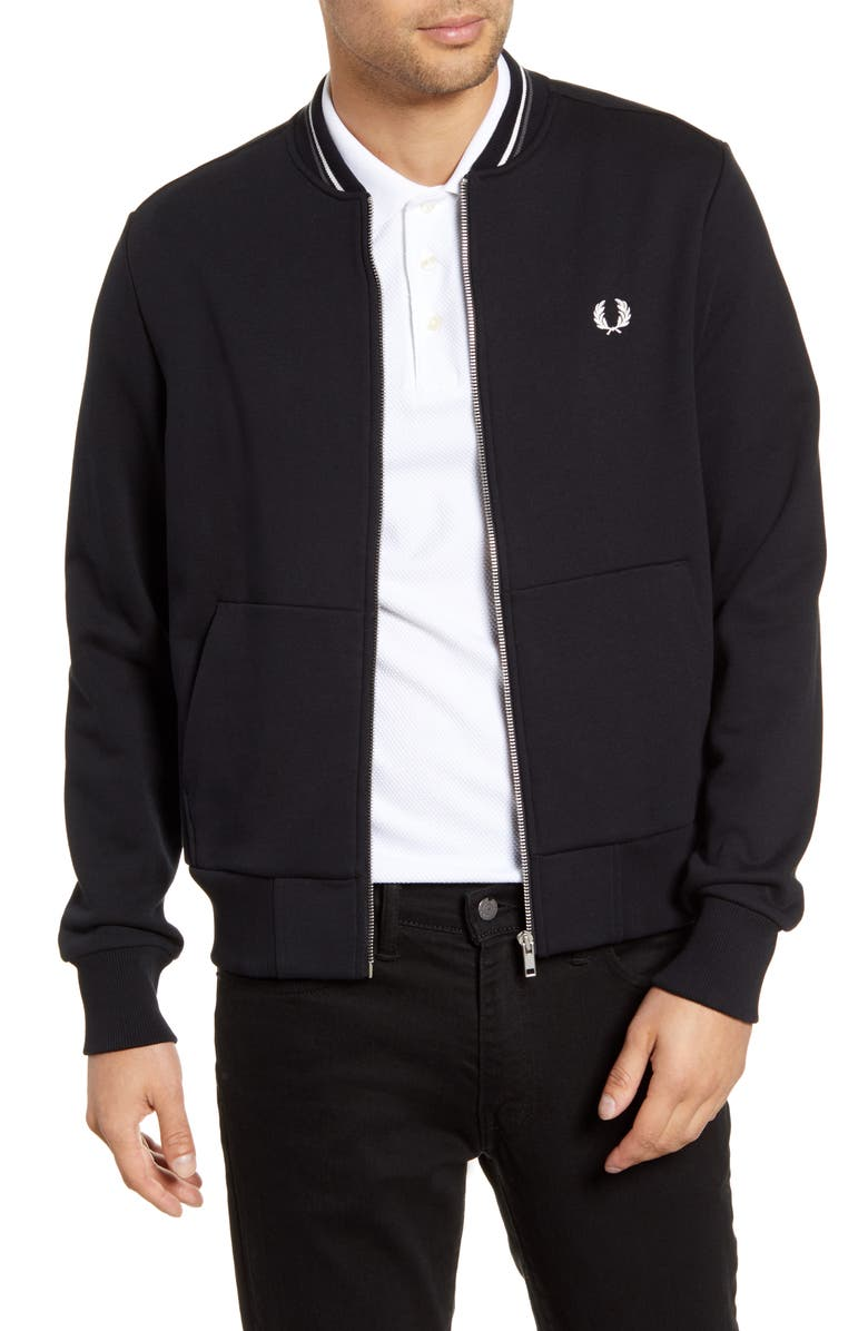 FRED PERRY Fleece Track Jacket, Main, color, BLACK