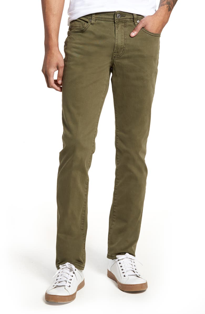 LIVERPOOL Kingston Slim Straight Leg Twill Pants, Main, color, OLIVE NIGHT