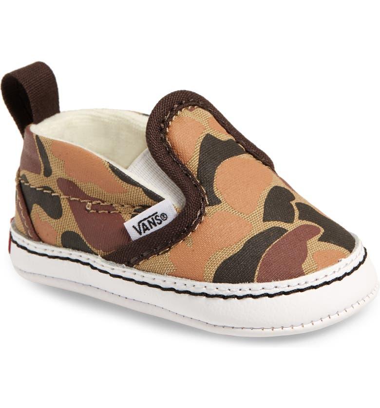 VANS Slip-On Crib Shoes, Main, color, CHOCOLATE TORTE/ TRUE WHITE