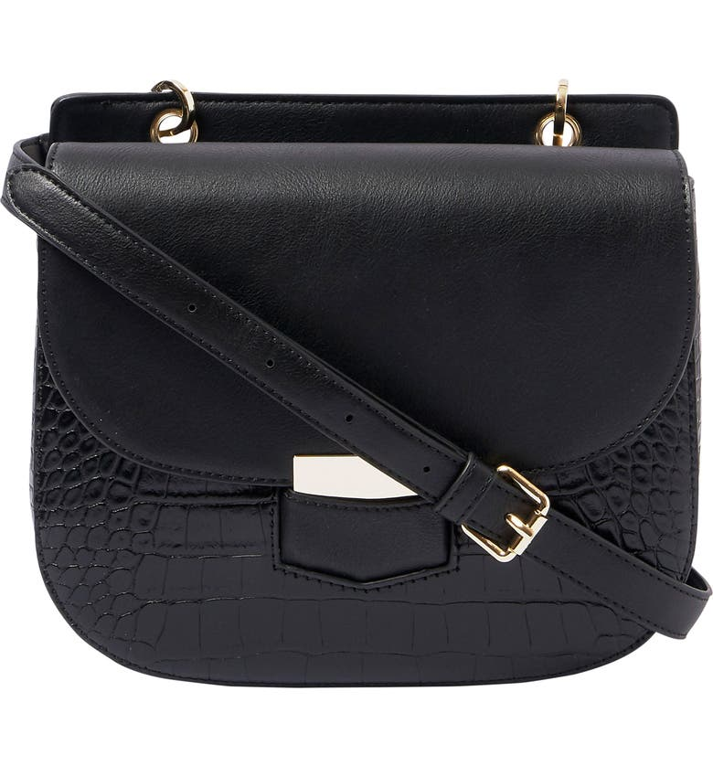 URBAN ORIGINALS Darling Baby Croc Embossed Vegan Leather Crossbody Bag, Main, color, BLACK