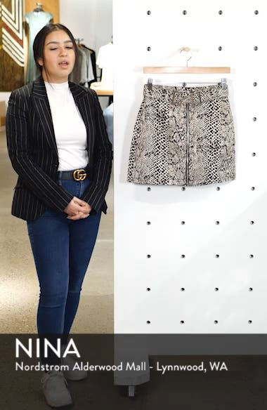 Snake Print Buckle Denim Skirt, sales video thumbnail
