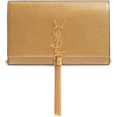 Saint Laurent Kate Metallic Leather Wallet On A Chain - Metallic