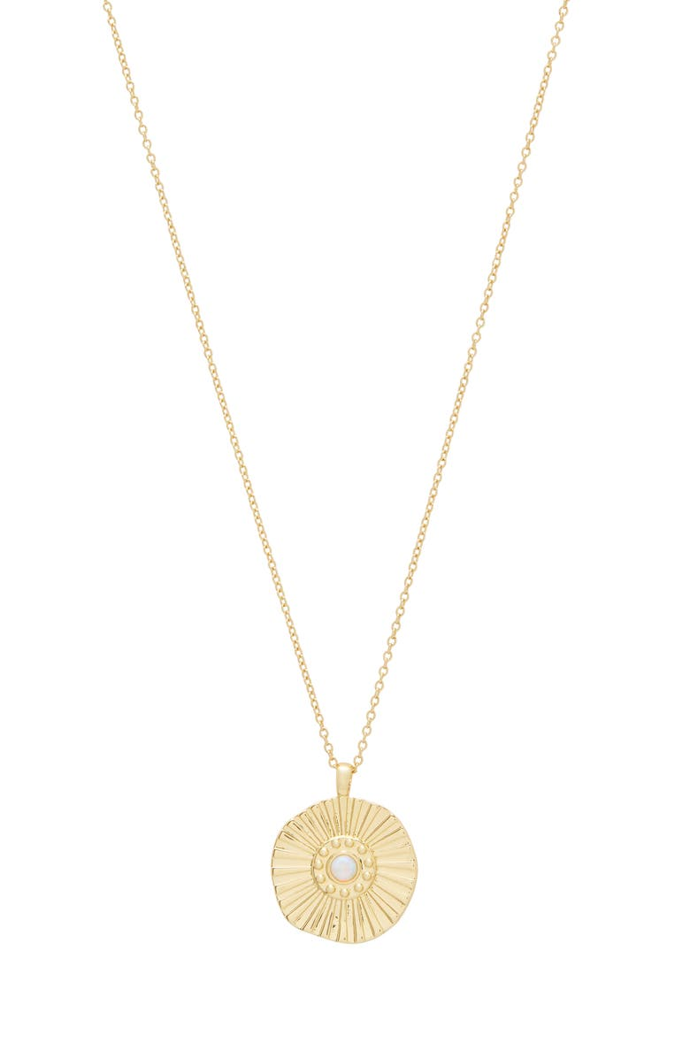 GORJANA Sunburst Coin Pendant Necklace, Main, color, GOLD