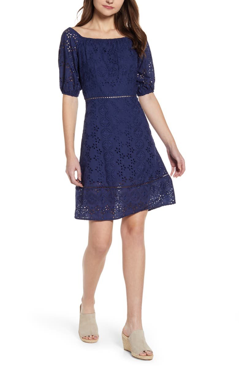 VINEYARD VINES Cotton Eyelet Fit & Flare Dress, Main, color, 476