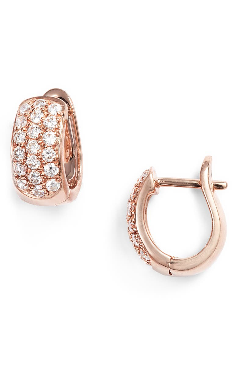 DANA REBECCA DESIGNS Mini Diamond Hoop Earrings, Main, color, ROSE GOLD