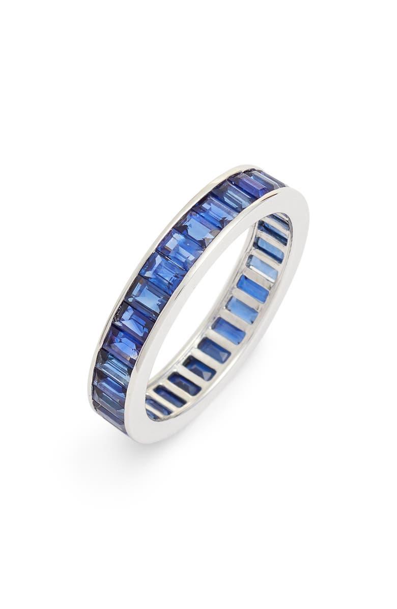BONY LEVY Baguette Gemstone Eternity Ring, Main, color, WHITE GOLD/ BLUE SAPPHIRE