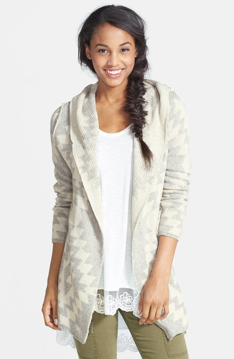 WOVEN HEART Geo Pattern Hooded Cardigan, Main, color, 020