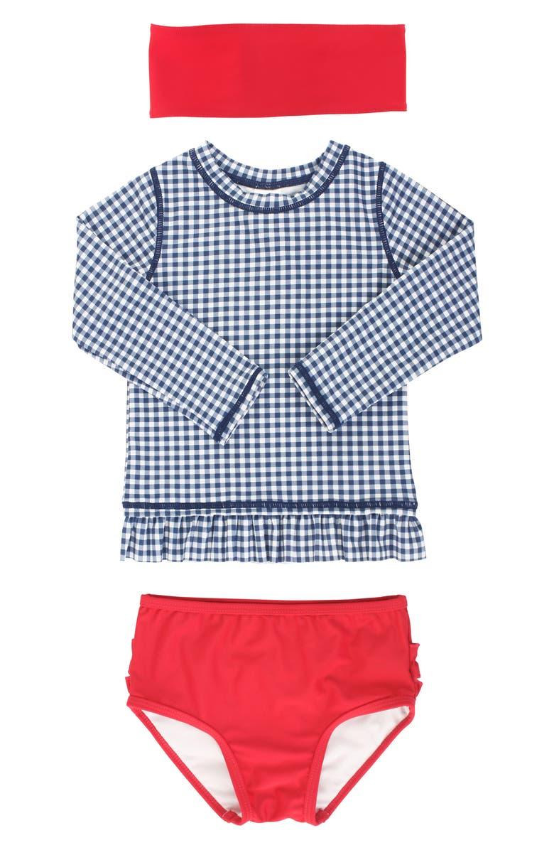 RUFFLEBUTTS Two-Piece Rashguard Swimsuit & Head Wrap Set, Main, color, BLUE