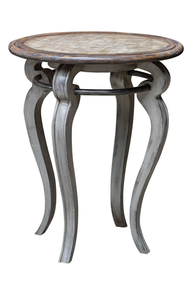 UTTERMOST Mariah Round Accent Table, Main, color, GRAY WOOD WITH WHITE GLAZE