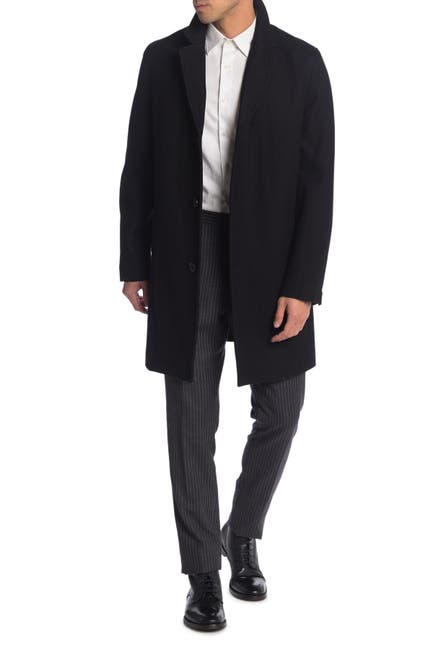 Image of Cole Haan Felted Notch Lapel Overcoat