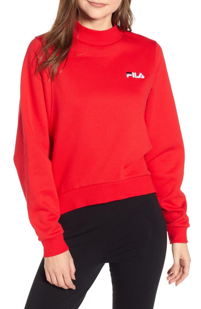 FILA Summer Mock Neck Sweatshirt, Main, color, CHINESE RED